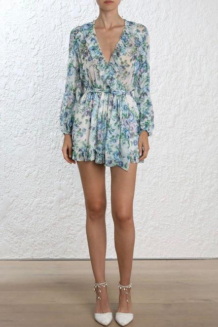 Zimmermann Whitewave Ruffle Floral Playsuit All The